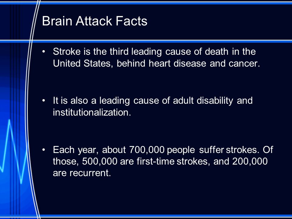 Brain Attack Facts Stroke is the third leading cause of death in the United States, behind heart disease and cancer.