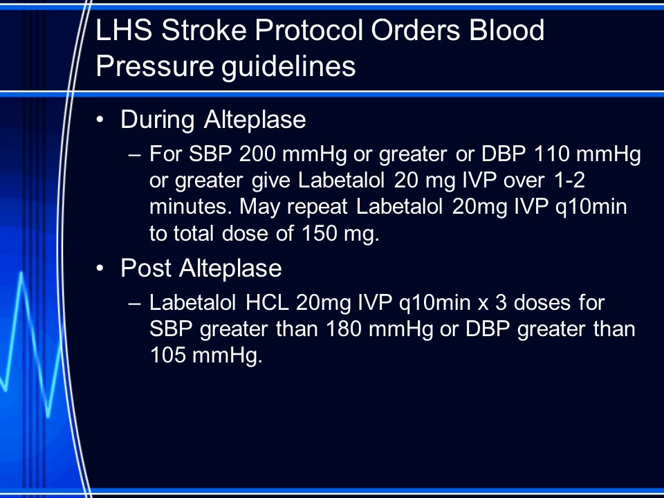 LHS Stroke Protocol Orders Blood Pressure guidelines