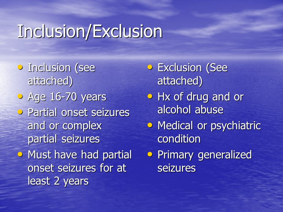 Inclusion/Exclusion Inclusion (see attached) Age 16-70 years