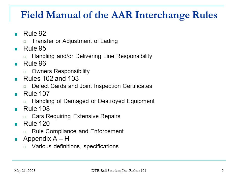 field manual of the aar interchange rules ppt video online download rh slideplayer com aar field manual 2017 roller bearing seal Multi Cam Field Manual