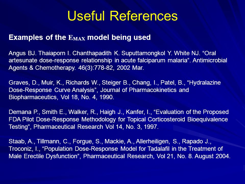 Useful References Examples of the EMAX model being used