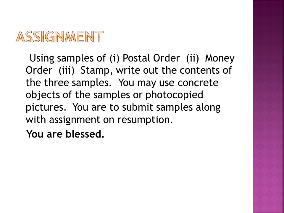 COMMUNICATION (CONT) SERVICES OF NIPOST (NIGERIAN POSTAL SERVICE