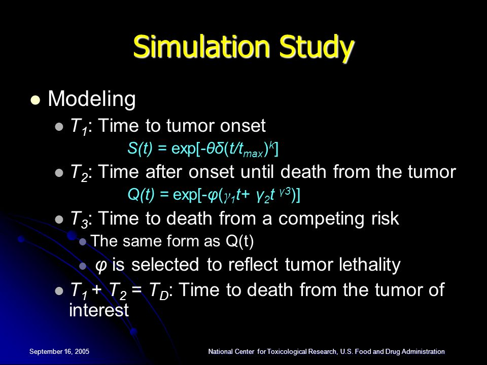Simulation Study Modeling T1: Time to tumor onset