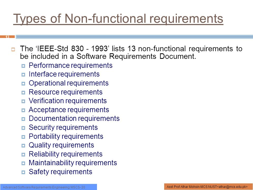 Types Of Non Functional Requirements