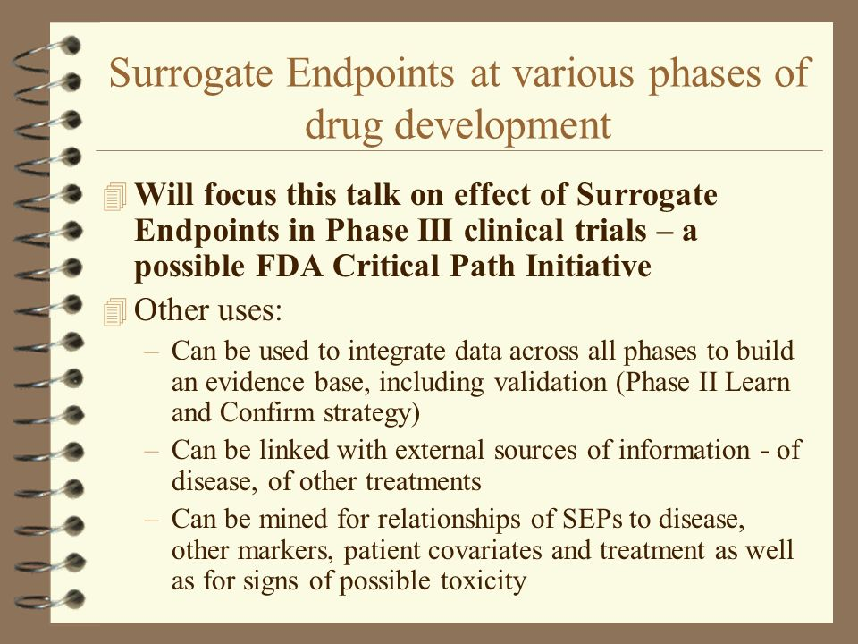 Surrogate Endpoints at various phases of drug development