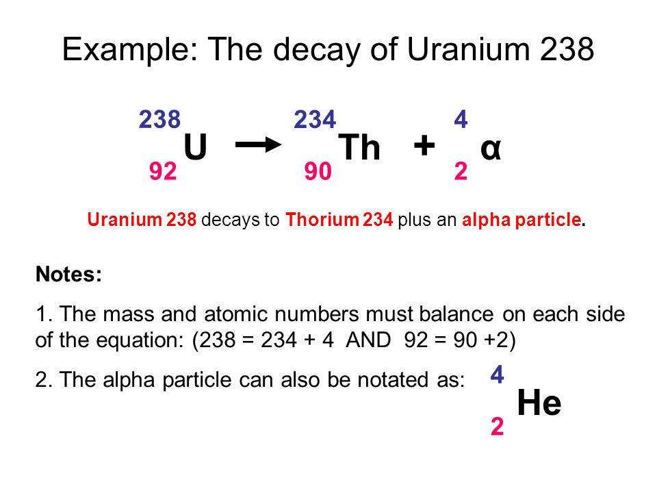 Alpha decay equation for uranium-235 dating