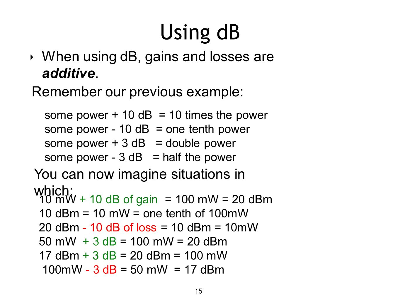 Using dB When using dB, gains and losses are additive.