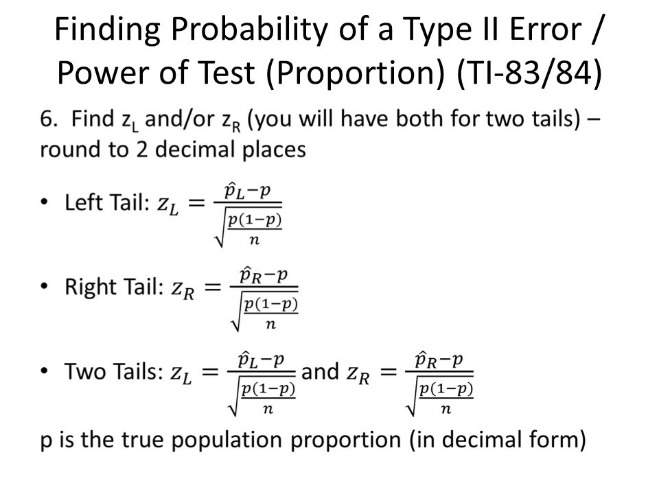 The Probability Of A Type Ii Error And The Power Of The Test Ppt