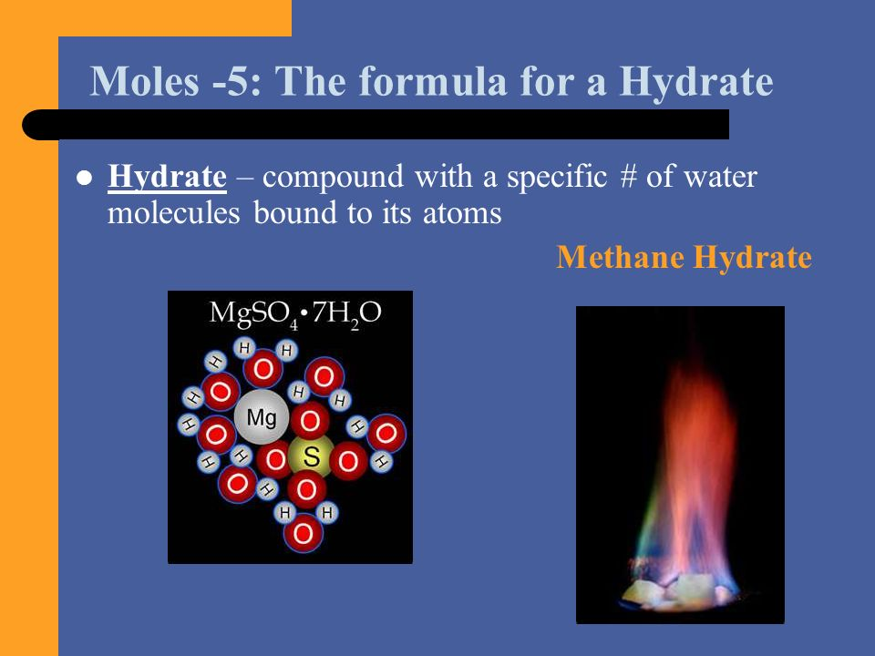 Moles -5: The formula for a Hydrate