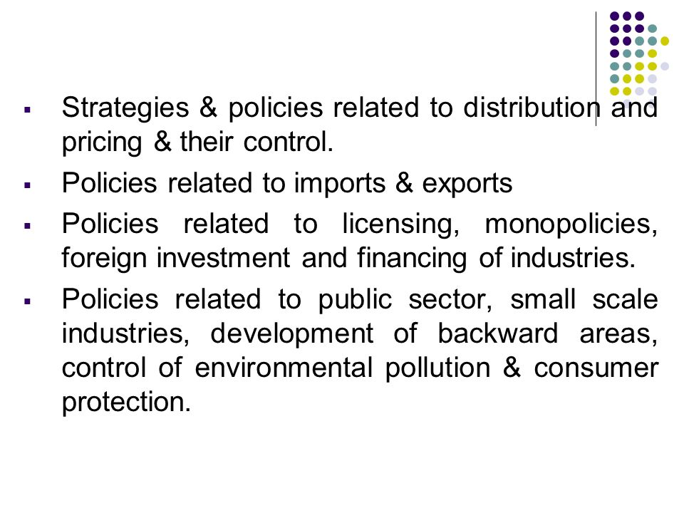 Strategies & policies related to distribution and pricing & their control.