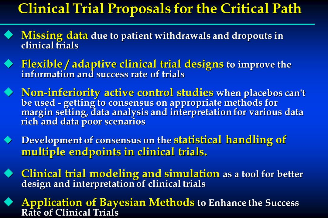 Clinical Trial Proposals for the Critical Path