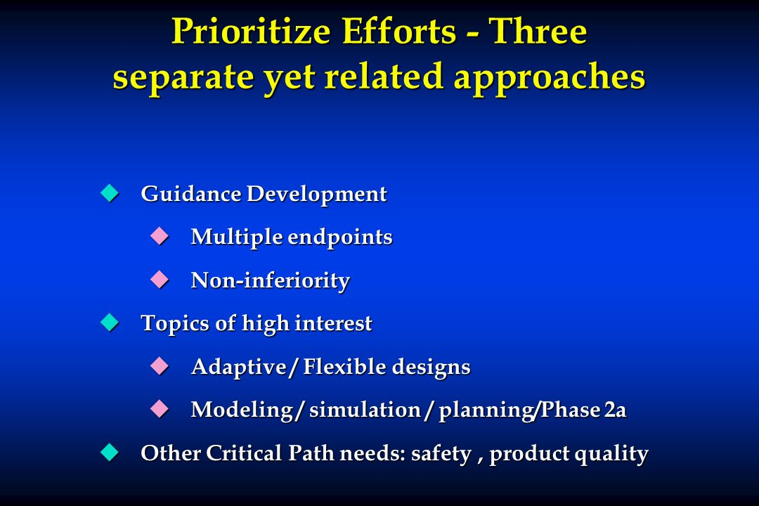 Prioritize Efforts - Three separate yet related approaches