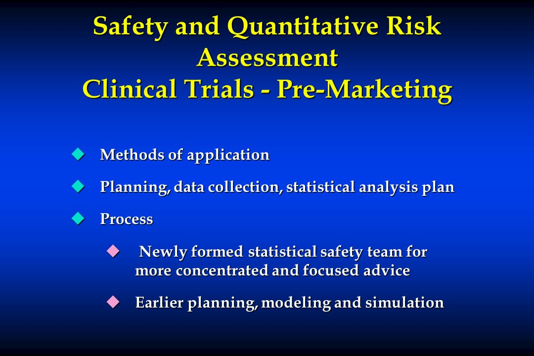 Safety and Quantitative Risk Assessment Clinical Trials - Pre-Marketing