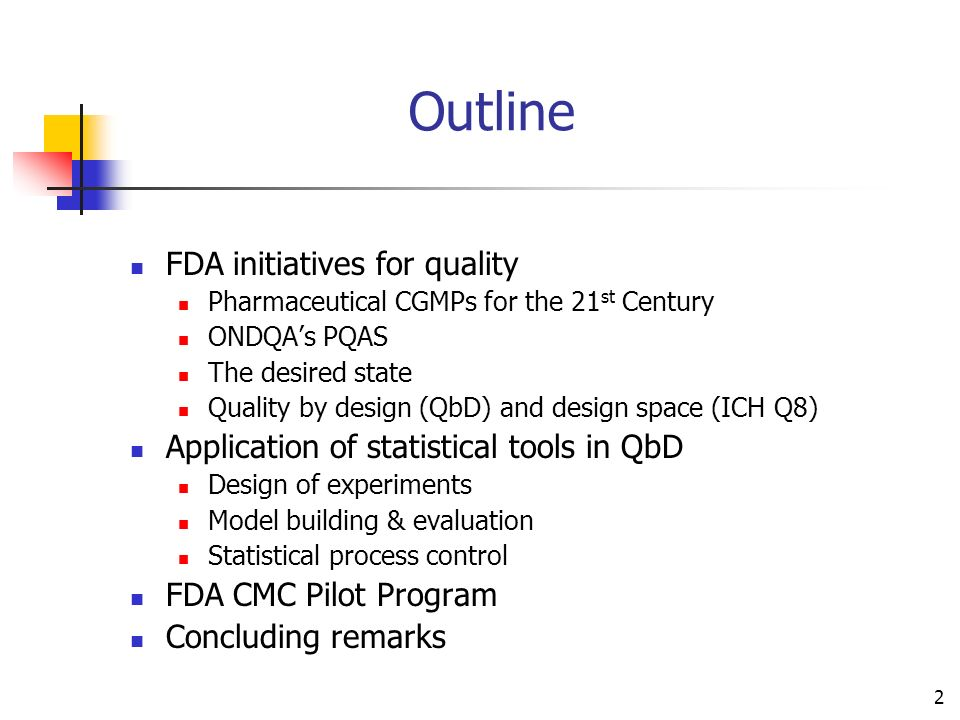 Outline FDA initiatives for quality
