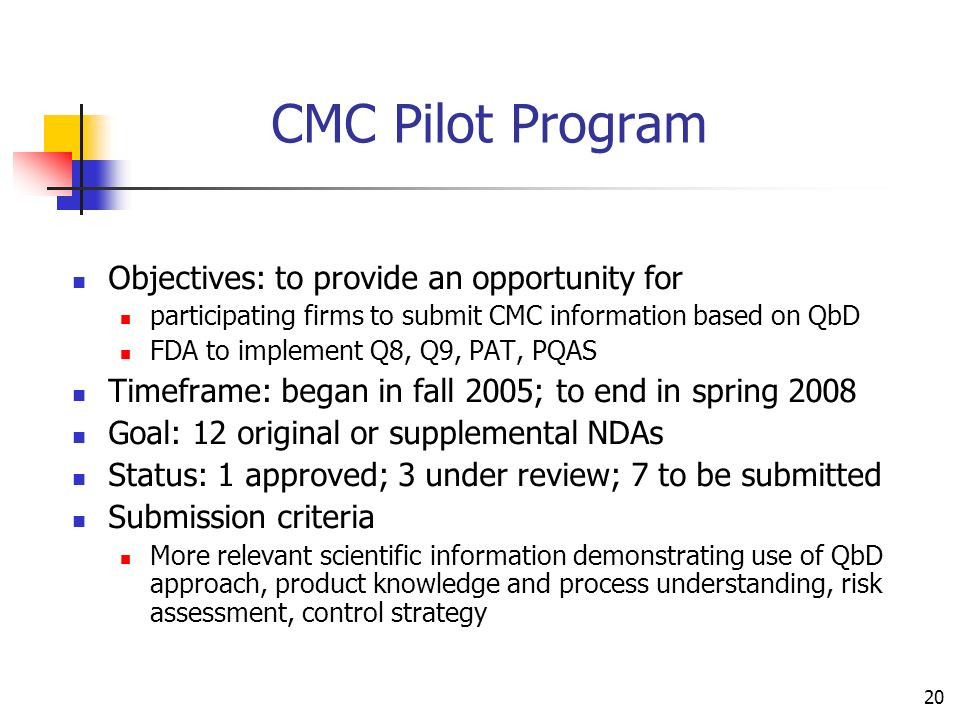 CMC Pilot Program Objectives: to provide an opportunity for