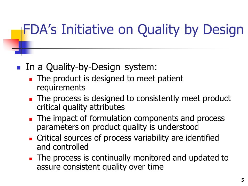 FDA's Initiative on Quality by Design