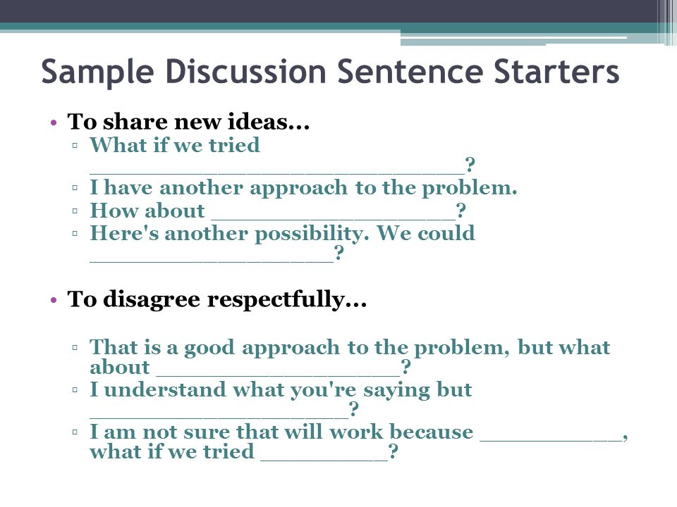 Sample Discussion Sentence Starters