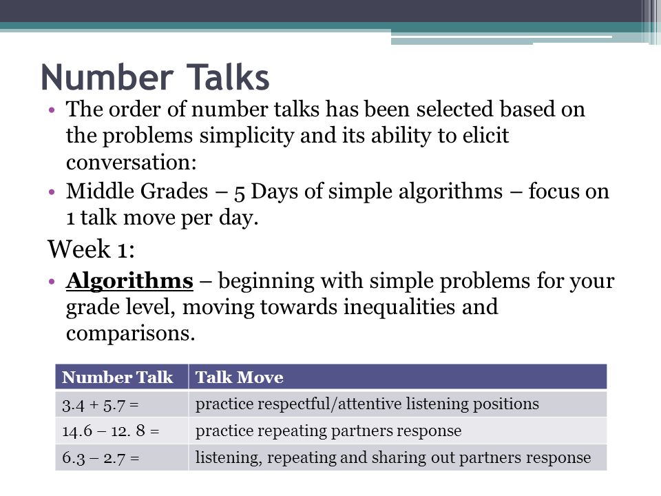 Number Talks The order of number talks has been selected based on the problems simplicity and its ability to elicit conversation: