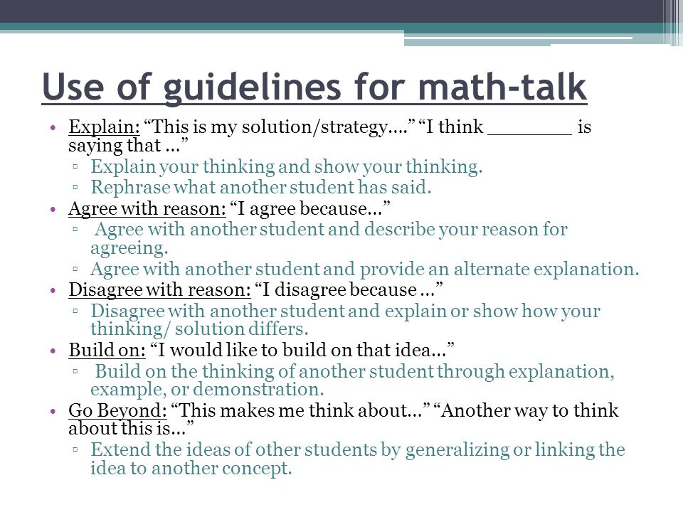 Use of guidelines for math-talk
