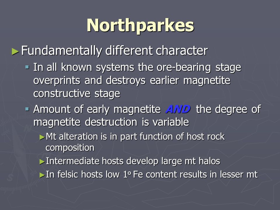 Northparkes Fundamentally different character