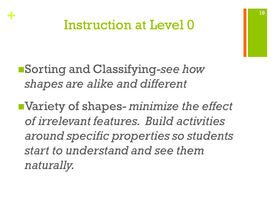 Instruction at Level 0 Sorting and Classifying-see how shapes are alike and different.