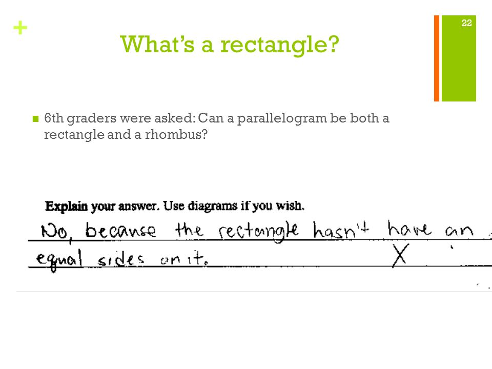 What's a rectangle 6th graders were asked: Can a parallelogram be both a rectangle and a rhombus