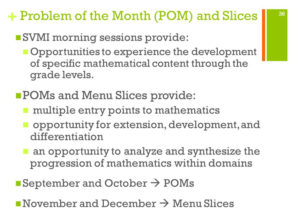 Problem of the Month (POM) and Slices
