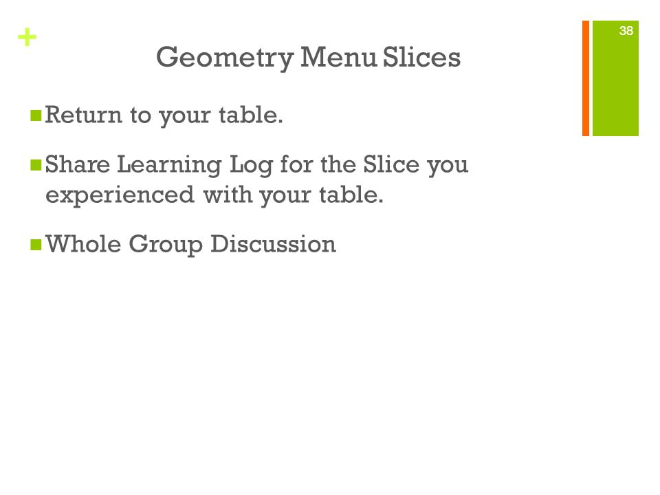 Geometry Menu Slices Return to your table.