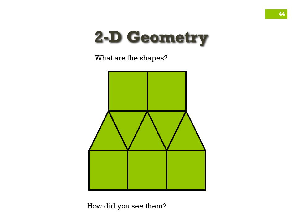 2-D Geometry What are the shapes How did you see them