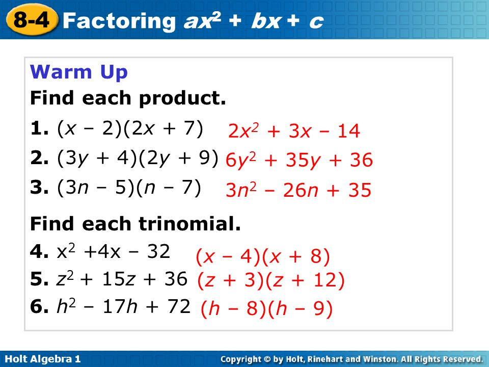 lesson 8-4 problem solving factoring ax2+bx+c answers