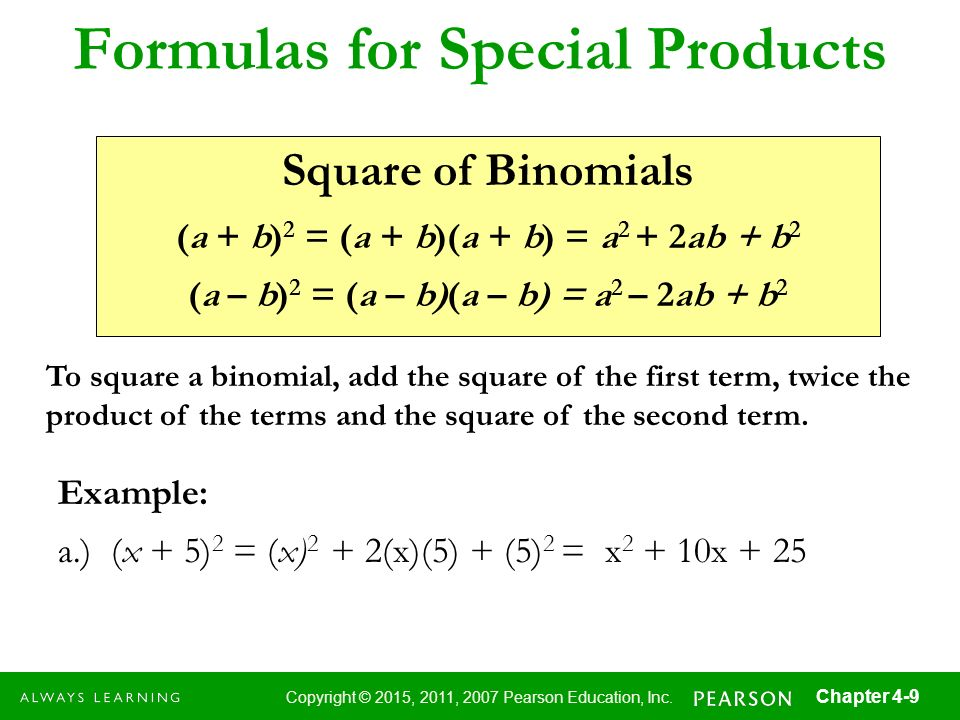 Formulas for Special Products