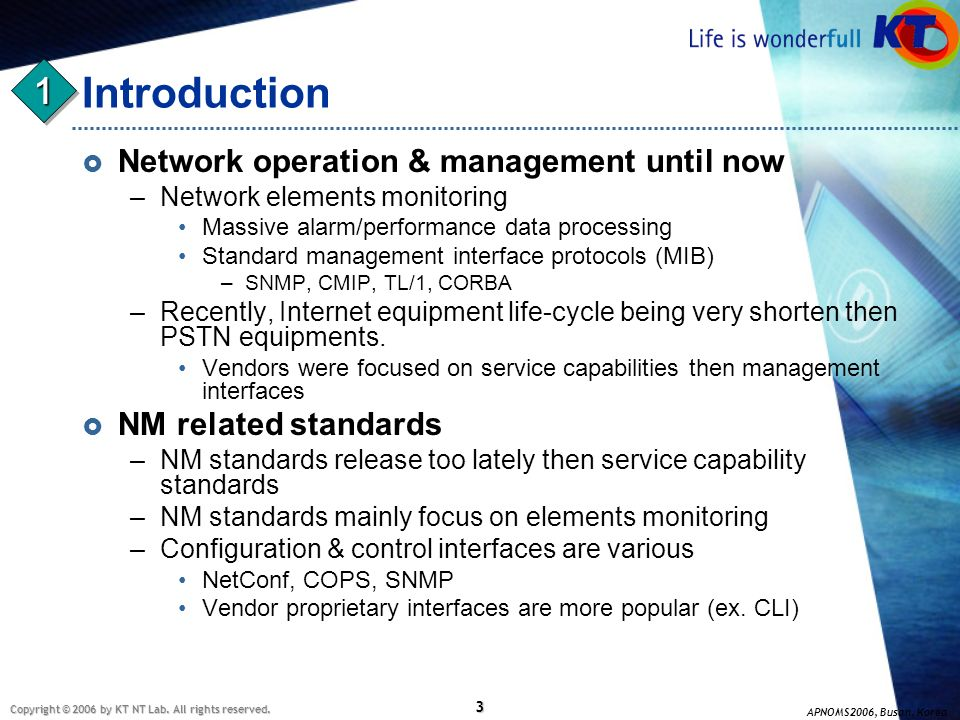 Introduction 1 Network operation & management until now