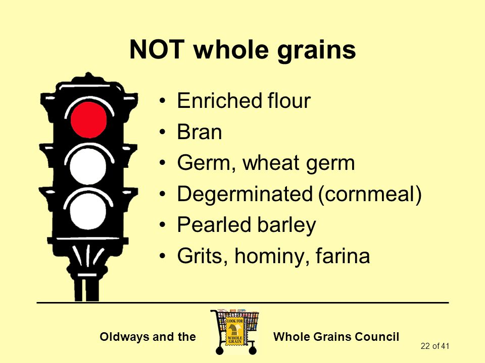 NOT whole grains Enriched flour Bran Germ, wheat germ