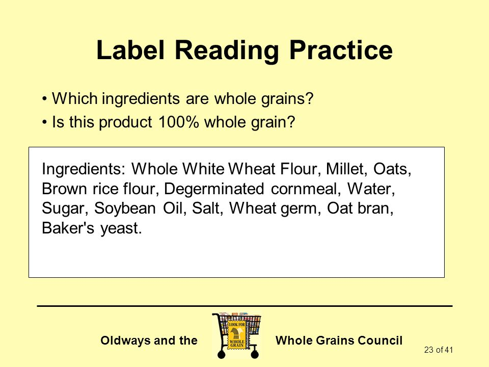 Label Reading Practice
