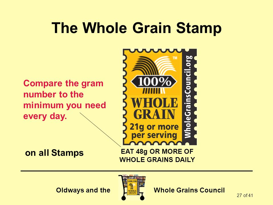 The Whole Grain Stamp Compare the gram number to the minimum you need