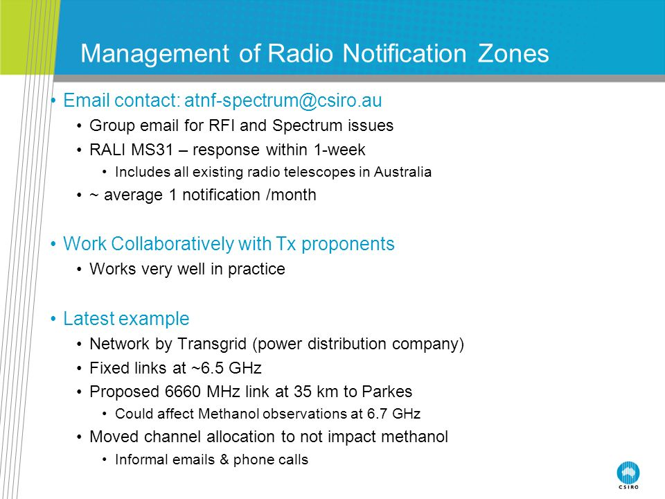 Management of Radio Notification Zones