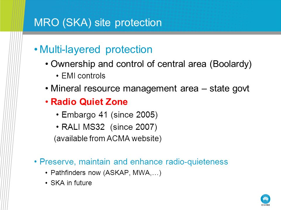 MRO (SKA) site protection