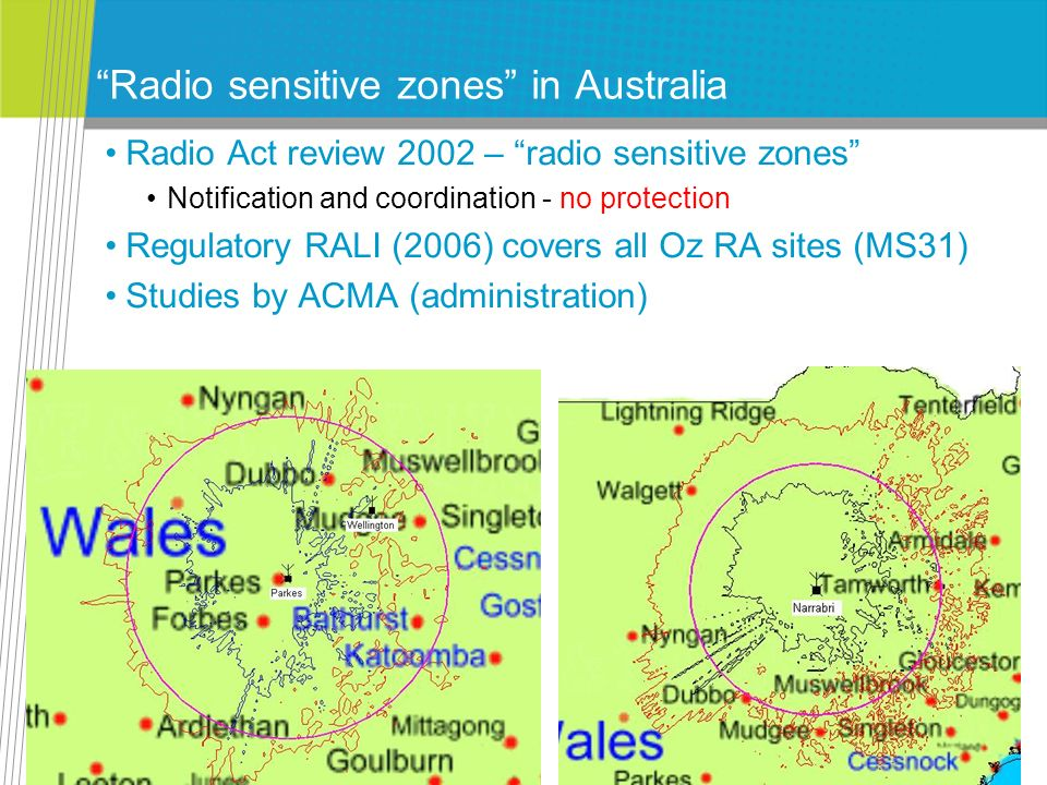 Radio sensitive zones in Australia