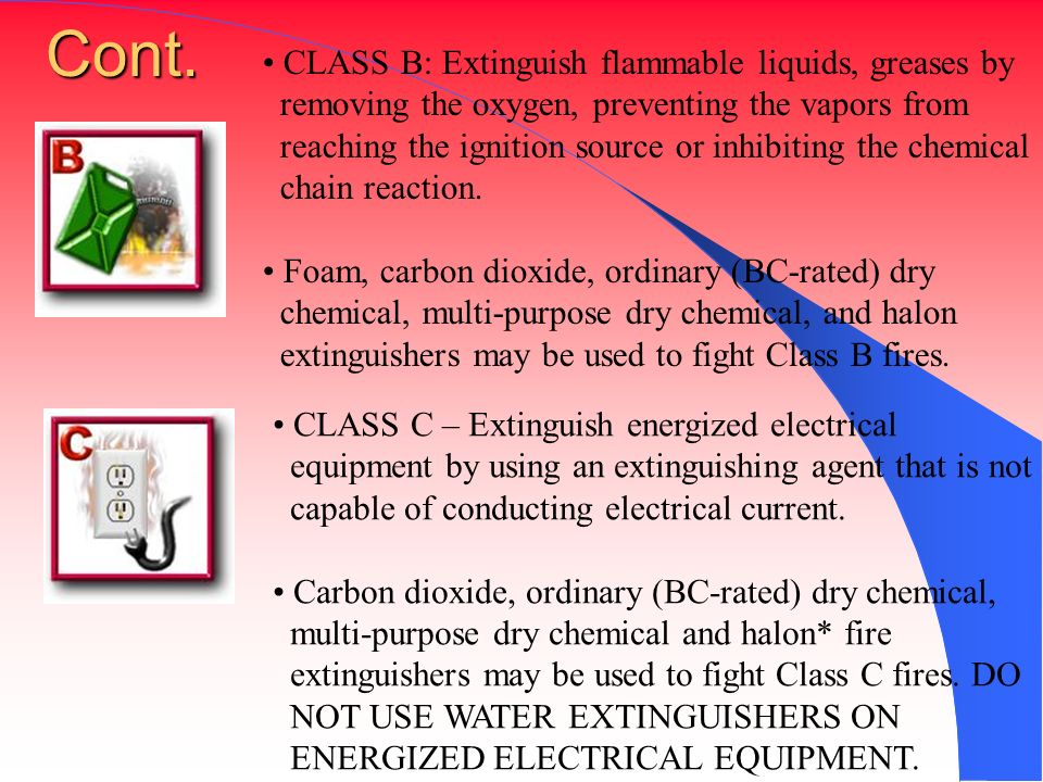 Cont. CLASS B: Extinguish flammable liquids, greases by