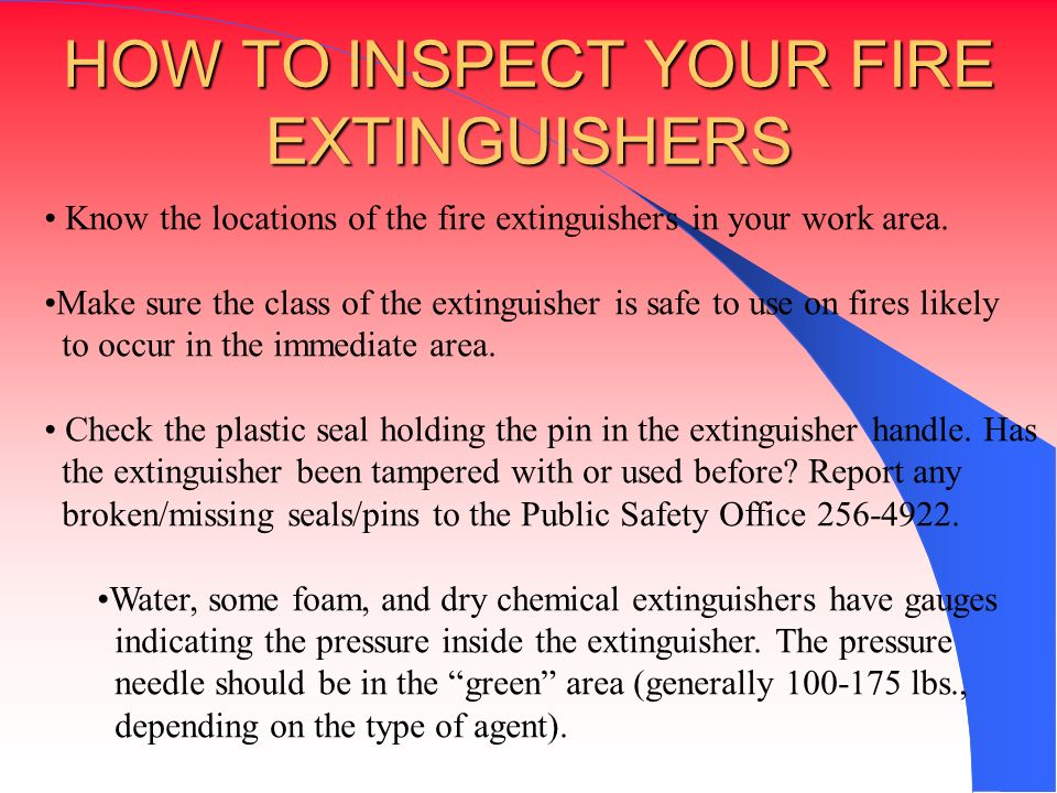 HOW TO INSPECT YOUR FIRE EXTINGUISHERS