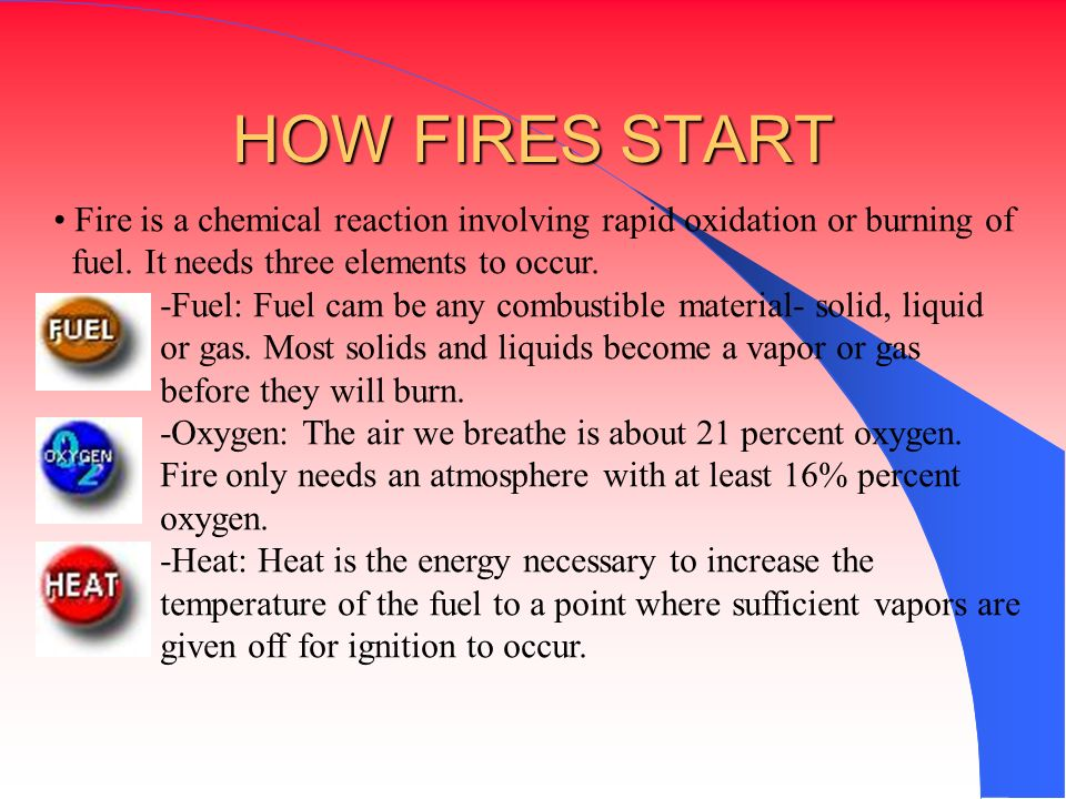 HOW FIRES START Fire is a chemical reaction involving rapid oxidation or burning of. fuel. It needs three elements to occur.
