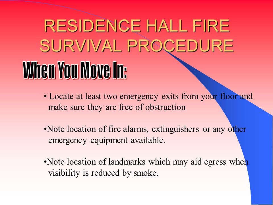 RESIDENCE HALL FIRE SURVIVAL PROCEDURE