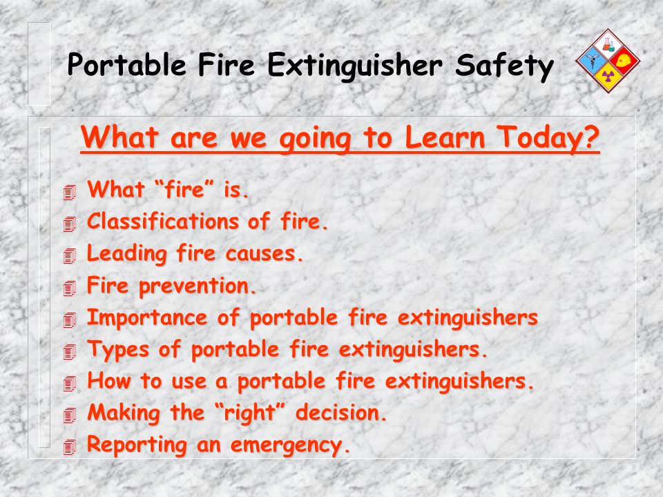 Portable Fire Extinguisher Safety