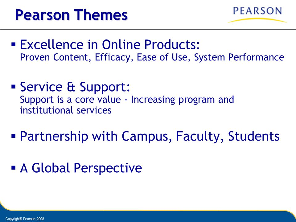 Pearson Themes Excellence in Online Products: Proven Content, Efficacy, Ease of Use, System Performance.