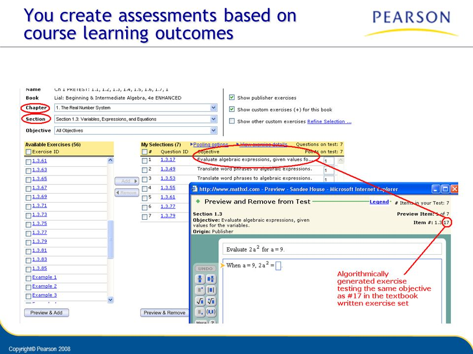 You create assessments based on course learning outcomes