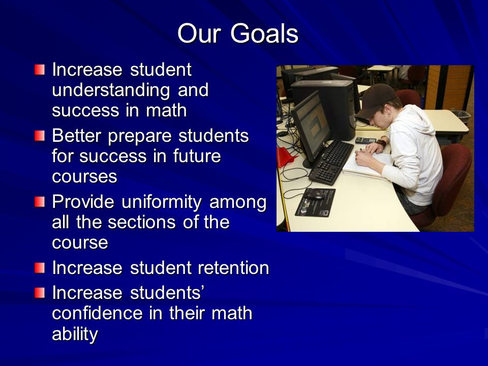 Our Goals Increase student understanding and success in math