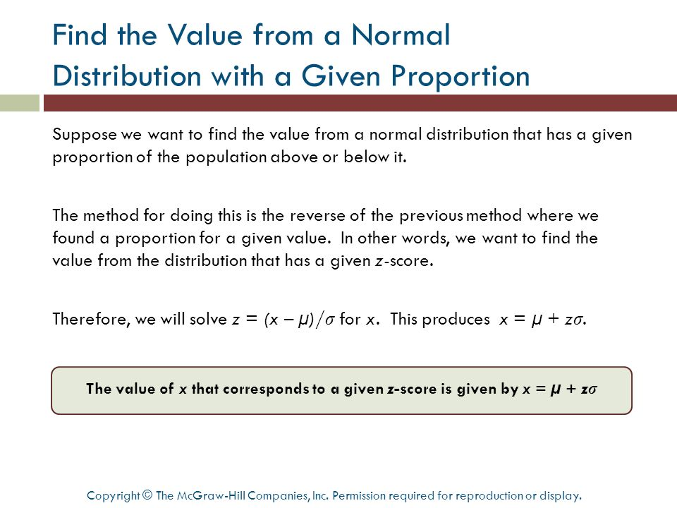 Find the Value from a Normal Distribution with a Given Proportion