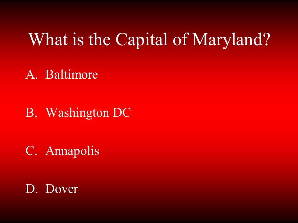 What is the Capital of Maryland