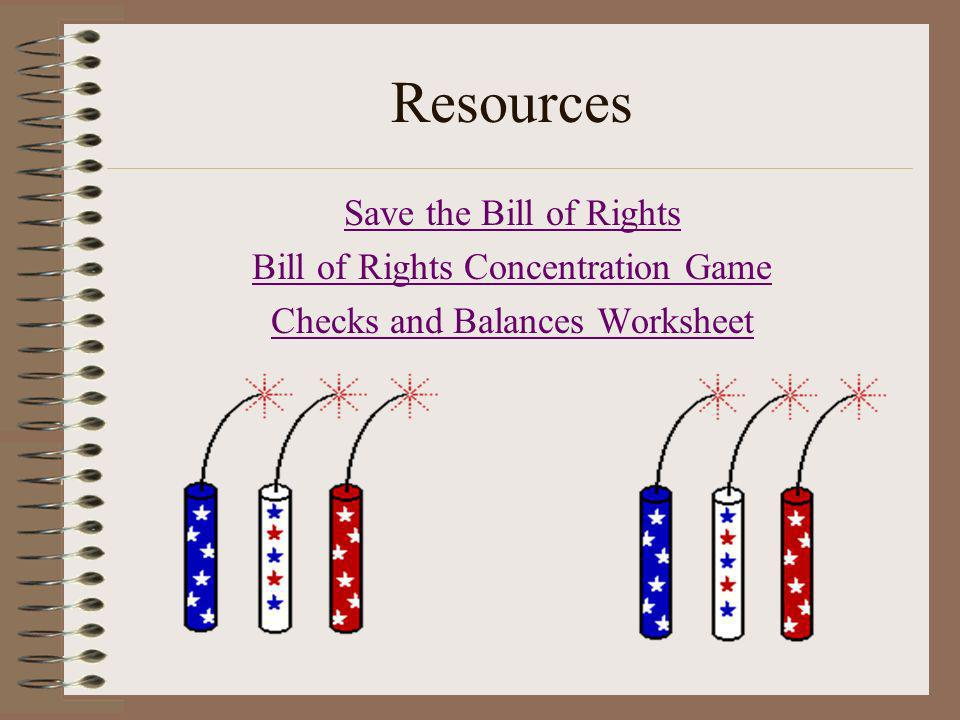 Resources Save the Bill of Rights Bill of Rights Concentration Game