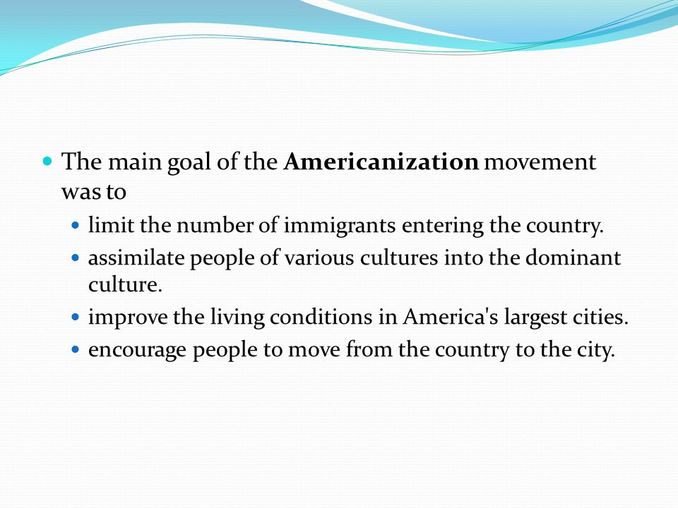 what was the goal of the americanization movement